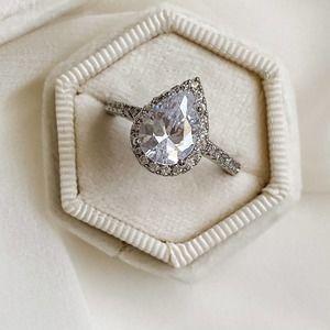 Pear Halo 2 Carat CZ Diamond Ring